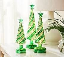 Set of 3 Illuminated Candy Cane Swirl Trees by Valerie Blue