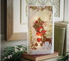 12 Illuminated Slim Glass Hurricane with Holiday Scene by Valerie Snowman