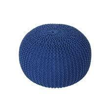 Abena Knitted Cotton Pouf Navy Blue