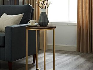 16 inch Round Side Table   Dark Walnut with Gold Base