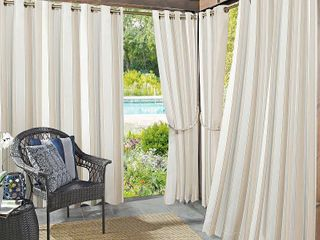 PAIR OF 108 x54  Valencia Cabana Striped Indoor Outdoor UV Protectant Grommet Top Room Darkening Curtain Panel Khaki   Sun Zero