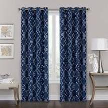 Mooneyham Geometric Blackout Grommet Curtain Panels  Set of 2    Midnight Blue