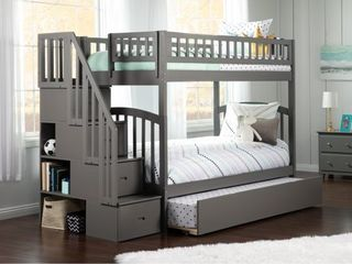 Staircase  Handrails  and Bookshelf ONlY  Westbrook Staircase Bunk Twin over Twin with Twin Size Urban Trundle Bed in Grey  Retail 1368 99