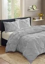 Sweet Home Collection 3 Piece luxury Pinch Pleat Pintuck Fashion Duvet Set  Queen  Gray