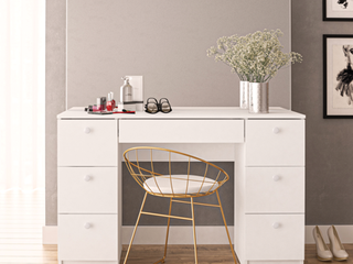 Boahaus Artemisia Modern Vanity Table with Mirror and 7 Drawers  White finish