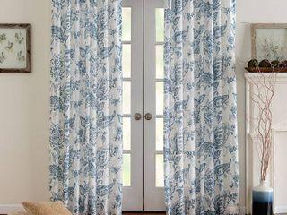 Denim   50  x 108  Miller Curtains Eastman Printed Rod Pocket Panel