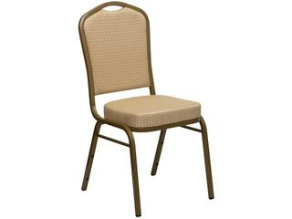 Flash Furniture FD C01 AllGOlD H20124E GG Hercules Series Crown Back Stacking Banquet Chair with Beige Patterned Fabric Gold Frame