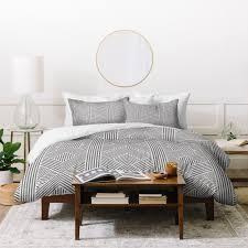 Deny Designs Grey Geometric Stripes Duvet Cover Set