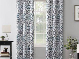 PAIR OF No  918 Hana Ikat Geometric Semi Sheer Grommet Curtain Panel