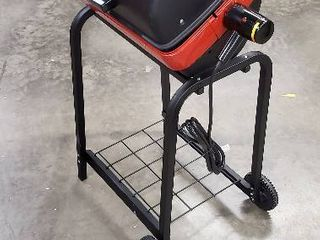 Missing Side Tables  Americana Electric Cart Grill with Folding Side Tables and Wire Shelf