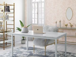 60  Greta Faux Marble Top Dining Table White   Cosmoliving by Cosmopolitan