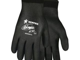 Memphis Glove N9690FCl Ninja Ice FC Nylon Back Double layer Gloves with Full Dipped HPT Coating  Black  large