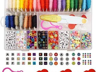 Peirich Friendship Bracelet Making Beads Kit  letter Beads 22 Multi Color Embroidery Floss Over 1900 pcs A Z  Alphabet Beads Beads Bracelets String Kit for Jewelry Making Christmas Birthday Gifts