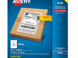 Avery 8126 Shipping Address labels  Inkjet Printers  50 labels  Half Sheet labels  Permanent Adhesive  True Block  1 Pack  White