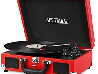 Victrola Vintage 3 Speed Bluetooth Portable Suitcase Record Player with Built in Speakers   Upgraded Turntable Audio Sound  Includes Extra Stylus   Red  1SFA  VSC 550BT RD