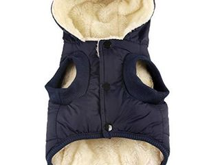 Vecomfy Fleece and Cotton lining Extra Warm Dog Hoodie in Winter for large Dogs Jacket Pet Coats with Hooded Blue XXXl