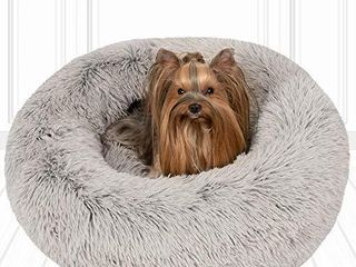 Friends Forever Coco Cat Bed  Faux Fur Dog Beds for Medium Small Dogs   Self Warming Indoor Round Pillow Cuddler  Small  Grey