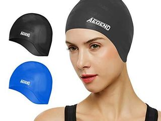 Aegend Unisex Swim Caps Cover Ears  2 Pack  Durable   Flexible Silicone Swimming Caps for long Hair   Short Hair Easy to Put On and Off  Black Blue