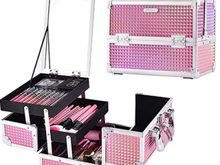 Joligrace Makeup Train Case Portable Cosmetic Box Jewelry Organizer lockable with Keys and Mirror 2 Tier Trays Carrying with Handle Makeup Storage Box   Mermaid Pink