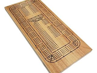 WE Games Classic Wooden Cribbage Board Game with 4 lanes   Four Track and Plastic Pegs   16 5 x 8 in