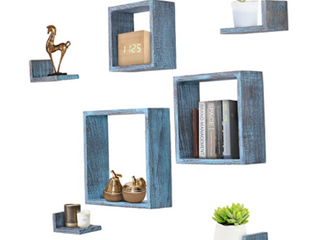 COMFIFY FlOATING WOODEN SHElVES  RUSTIC BlUE