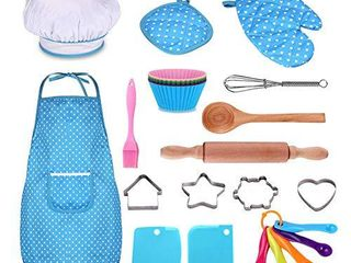 Kids Cooking and Baking Set   25Pcs Kids Chef Role Play Includes Apron for little Boys   Girls  Chef Hat  Utensils  Cake Cutter  Silicone Cupcake Moulds for Toddler Dress Up Ages 2 6 little Kids Gift