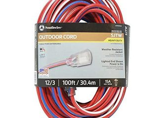 Southwire 2549SWUSA1 100 Feet  Contractor Grade  12 3 Extension Cord  With lighted End  Red White And Blue  American Made Extension Cord  Indoor and Outdoor Use  Water Resistant Flexible Jacket