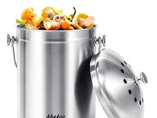 Abakoo Stainless Steel Compost Bin   1 3 Gallon Premium Rust Resistant Grade 304 Stainless Steel Kitchen Composter   Includes 4 Charcoal Filter  Indoor Countertop Kitchen Recycling Bin Pail