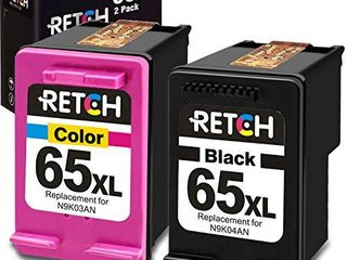 RETCH Remanufactured Ink Cartridge Replacement for HP 65Xl 65 Xl for Envy 5055 5052 5058 DeskJet 3755 2655 2600 2620 2622 2624 2652 3752 3720 3721 3722 3723 3730 3732  1 Black 1 Tri Color