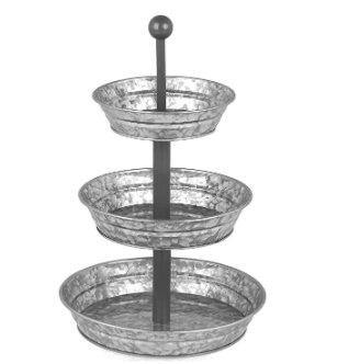 3 Tiered Galvanized Serving Tray   Kitchen Desserts   Rustic Home Decor Platter