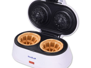 Double Waffle Bowl Maker by StarBlue White Make bowl shapes Belgian 1200W NEW
