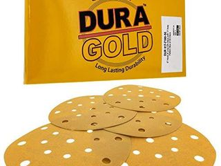 Dura Gold   Premium   180 Grit   6  Gold Sanding Discs   17 Hole Pattern Dustless Hook and loop for DA Sander   Box of 50 Finishing Sandpaper Discs for Woodworking or Automotive