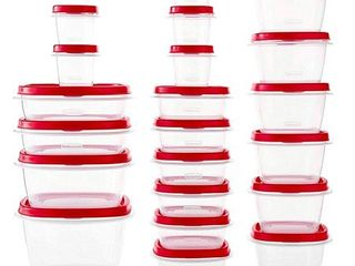 Rubbermaid Easy Find Vented lids Food Storage Containers  Set of 21  42 Pieces Total  Racer Red 42 Piece