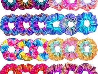 Tatuo 24 Pieces Shiny Metallic Scrunchies Hair Scrunchies Elastic Hair Bands Scrunchy Hair Ties Ropes for Women or Girls Hair Accessories  large  Rainbow Colors