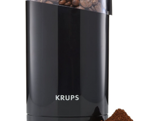 KRUPS F203 ElECTRIC SPICE AND COFFEE GRINDER WITH STAINlESS STEEl BlADES  3 OZ 85G  BlACK