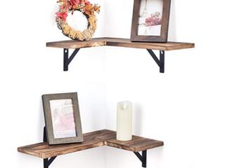 Set of Two   Dark Wood Floating Corner Shelves