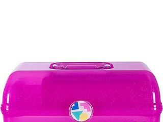Caboodles On The Go Girl Hot Pink Sparkle Jellies Vintage Case  1 lb