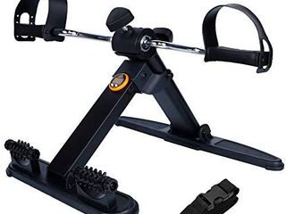 Hausse Folding Exercise Peddler Portable Pedal Exerciser for legs and Arms  with 2 Massage Rollers  Upgrade Medical Folding Pedal Exerciser with Electronic Display  Black
