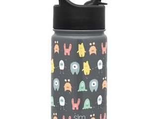 Simple Modern 14oz Summit Kids Water Bottle Thermos with Straw lid   Dishwasher Safe Vacuum Insulated Double Wall Tumbler Travel Cup 18 8 Stainless Steel  little Monsters