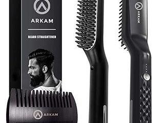 Arkam Premium Beard Straightener for Men   Cutting Edge Ionic Beard Straightening Comb  Heated Hair Straightener for Men  Beard Comb and Heated Beard Brush  Dual Action Fine Wooden Comb   Travel Bag