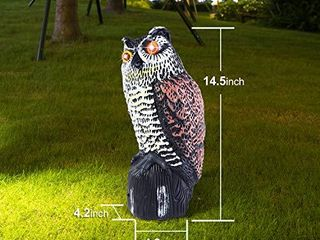 Ohuhu Solar Powered Owl Decoy to Scare Birds Away  Fake Owl Statues with Flashing Eyes   3 Different Scary Sound