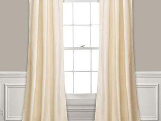 lush Decor Prima Velvet Curtains Color Block Room Darkening Window Panel Set for living  Dining  Bedroom  Pair  84  l  Ivory