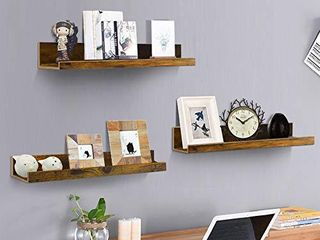 Giftgarden 16 Inch Floating Shelves for Wall Set of 3  Rustic Wall Mounted Picture ledge Small Wall Shelf for Bedroom Bathroom living Room Kitchen  3 Different Sizes