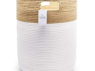 Chloe and Cotton Extra large Tall Woven Rope Storage Basket 19 x 16 inch Jute White Handles   Decorative laundry Clothes Hamper  Blanket  Towel  Baby Nursery Diaper  Toy Bin Cute Collapsible Organizer