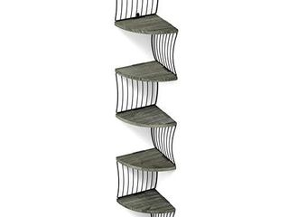 love KANKEI Corner Shelf Wall Mount of 5 Tier Rustic Wood Floating Shelves for Bedroom Wall Shelves living Room Bathroom Kitchen Office and More Weathered Grey
