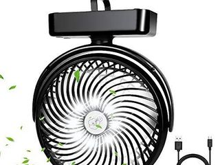 10000mAh Battery Operated Camping Fan with lED lantern Portable 8 6 Inch Rechargeable Tent Fan 70 Working Hours Max USB Desk Fan with Hanging Hook for Tent Car RV Hurricane Emergency Outages Office