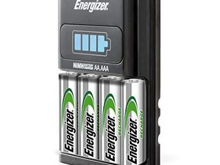 Energizer AA AAA 1 Hour Charger with 4 AA NiMH Rechargeable Batteries  Charges AA or AAA Batteries in 1 Hour or less  CH1HRWB 4