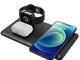 Wireless Charger 3 in 1 Fast Qi Wireless Charging Station for AirPods Wireless Charging Stand for iWatch 6 5 4 3 2 iPhone 12 11 11 Pro SE X XS XR XS Max 8 8 Plus Wireless Charging pad for Samsung