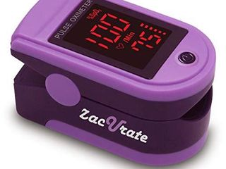 Zacurate Pro Series 500Dl Fingertip Pulse Oximeter Blood Oxygen Saturation Monitor with Silicon Cover  Batteries and lanyard  Mystic Purple