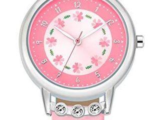 WUTAN Girl Watch Stylish Pink leather Strap Wrist Band Flowers Dial with Diamond Cute Watch for Girls Casual Waterproof Wristwatches for Kids Reloj para NiAos NiAas